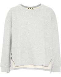 Amo Woman Distressed French Cotton-terry Sweatshirt Light Gray Size M Amo Pick A Best kddWk