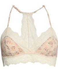 Eberjey - + Rebecca Taylor Lou Floral-print Stretch-silk And Lace Triangle Bra Cream - Lyst