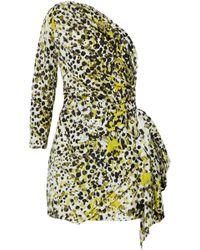 db5e7dbd38 Roberto Cavalli - Woman One-shoulder Printed Silk Mini Dress Chartreuse -  Lyst