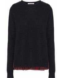 Autumn Cashmere - Checked Cotton Twill-paneled Cashmere Sweater - Lyst