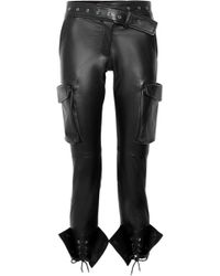 Monse - Lace-up Leather Skinny Trousers - Lyst