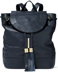 See By Chloé - Vicki Pebbled-leather Backpack Midnight Blue - Lyst