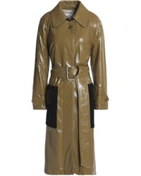 Sonia Rykiel - Velvet-paneled Coated Cotton-blend Trench Coat Army Green - Lyst