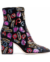Loeffler Randall - Embellished Velvet Ankle Boots - Lyst