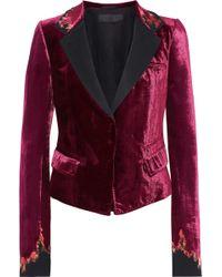 Haider Ackermann - Satin-trimmed Embroidered Velvet Blazer - Lyst