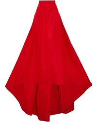 Carolina Herrera - Flared Pleated Silk-faille Maxi Skirt - Lyst