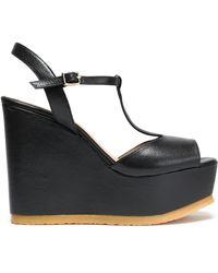 Castaner - Leather Platform Wedge Sandals - Lyst