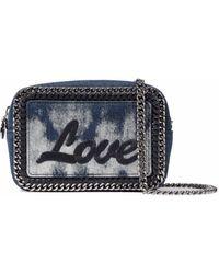 Stella McCartney - Falabella Embroidered Bleached Denim Shoulder Bag Dark Denim - Lyst