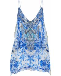 Camilla - Embellished Printed Silk Crepe De Chine Camisole - Lyst