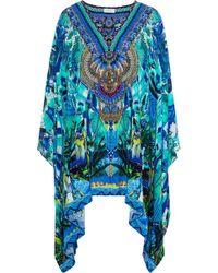 Camilla - Amazon Azure Embellished Printed Silk Crepe De Chine Kaftan Azure - Lyst