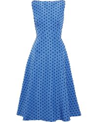 Lela Rose - Woman Flocked Silk-faille Midi Dress Blue - Lyst