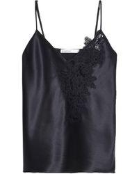 Gentry Portofino - Lace-trimmed Silk-blend Satin Camisole Midnight Blue - Lyst
