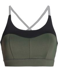 5f8df58861c4b Purity Active - Woman Two-tone Tech-jersey Sports Bra Army Green - Lyst