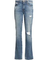 FRAME - Distressed Mid-rise Slim-leg Jeans - Lyst