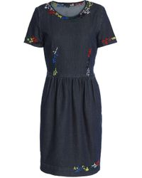 Love Moschino - Embroidered Denim Mini Dress - Lyst