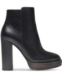 Brunello Cucinelli - Bead-embellished Leather Platform Ankle Boots - Lyst
