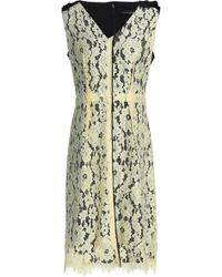 Marc Jacobs - Twill And Corded Lace Dress Pastel Yellow - Lyst