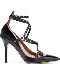 Valentino - Love Latch Eyelet-embellished Two-tone Patent-leather Pumps - Lyst
