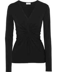 By Malene Birger - Woman Sulana Knotted Stretch-crepe Top Black - Lyst