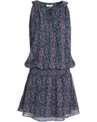 Joie - Shirred Printed Silk-blend Crepe De Chine Mini Dress - Lyst
