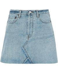 Levi's - Distressed Denim Mini Skirt Light Denim - Lyst