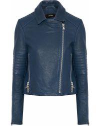 J Brand - Aiah Textured-leather Biker Jacket - Lyst