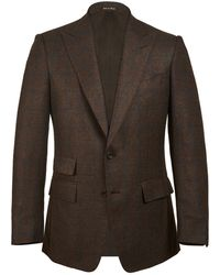 Chester Barrie - Brown And Navy Single Breasted Birdseye Windowpane Jacket - Lyst