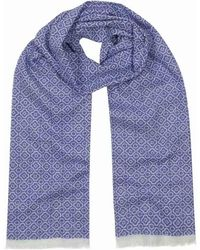 Anderson & Sheppard - Indigo Blue And White Tubular Cotton Mosaic Scarf - Lyst