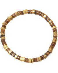 Jan Leslie - Brown Brass And Shell Disk Bead Elasticated Bracelet - Lyst