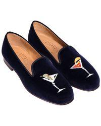 Stubbs & Wootton - Blue Embroidered Martini Velvet Slippers - Lyst