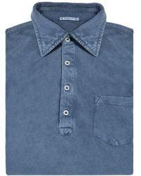 Naked Clothing - Dark Blue Long Sleeve Acid Washed Pique Polo Shirt - Lyst