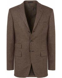 New & Lingwood - Olive Houndstooth Check Harrold Single-breasted Jacket - Lyst
