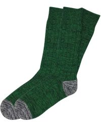 The Workers Club - Green And Grey Chunky Cotton Socks 2-pack - Lyst