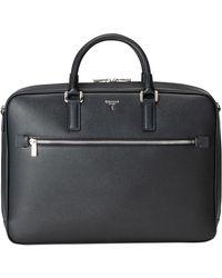 Serapian - Navy Blue Italian Calf Leather Evoluzione Slim Document Briefcase - Lyst