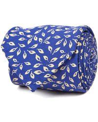 Rubinacci - Blue And White Leaf Silk Tie - Lyst