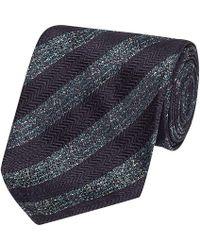 Salvatore Piccolo - Navy And Grey Stripe Silk Tie - Lyst