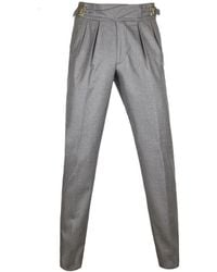 Light Grey Manny Pleated Flannel Wool Trousers Rubinacci q66I1dLRz3
