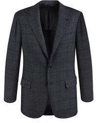 Ring Jacket - Grey Windowpane Check Calm Twist Wool Suit - Lyst