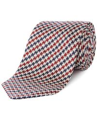 Chester Barrie - Navy And Red Houndstooth Silk Tie - Lyst