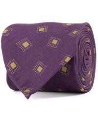 Rubinacci - Purple And Sand Frame Silk Tie - Lyst