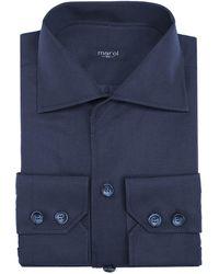 Marol - Dark Blue Linen Safari Shirt - Lyst