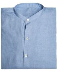 Anderson & Sheppard - Blue Collarless Cotton And Cashmere Shirt - Lyst