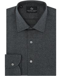 Chester Barrie - Grey Spread Collar Cotton Flannel Shirt - Lyst