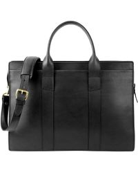 Frank Clegg - Black Double Zip-top Harness Belting Leather Briefcase - Lyst
