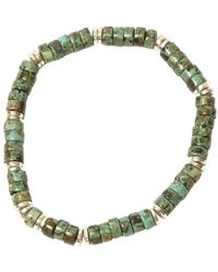 Jan Leslie - Green African Turquoise Green Bead Silver Plated Elasticated Bracelet - Lyst