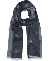 Gieves & Hawkes - Dual Blue Cashmere Crown Print Jacquard Knitted Scarf - Lyst