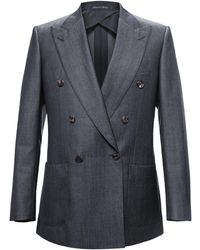 Chester Barrie - Blue Kingly Double Breasted Worsted Wool Jacket - Lyst
