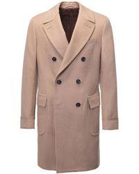Lardini   Camel Double-breasted Overcoat   Lyst