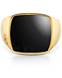 Nialaya - Onyx And 18k Gold-finished Stainless Steel Cocktail Ring - Lyst
