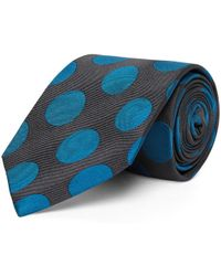 Chester Barrie - Green And Teal Large Jacquard Spot Silk Tie - Lyst
